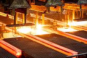 hot steel on conveyor Close shot in steel mill