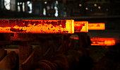 hot steel slabs on metallurgical plant conveyor