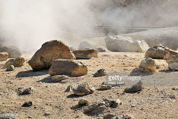 Hot sulphuric vapors and rocks in the solfatara field Bumpass Hell, Lassen Volcanic National Park, California, USA