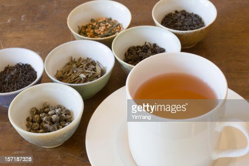 Hot Tea in Cup Near Leaf Varieties for Tasting Selections