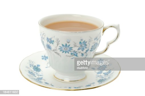 Hot tea served in a bone china cup and saucer