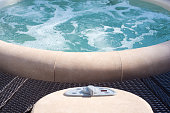 View of Jacuzzi upholster with beige leather