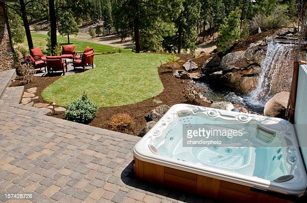 Hot tub with backyard
