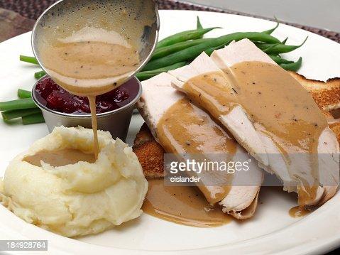 Hot turkey sandwich which gravy and mashed potato