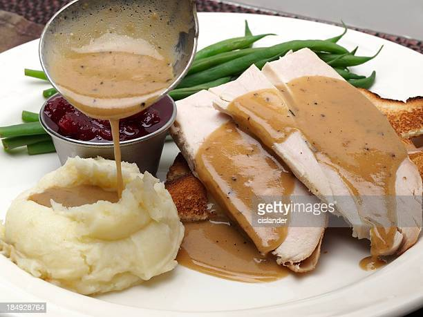Hot turkey sandwich which gravy and mashed potato