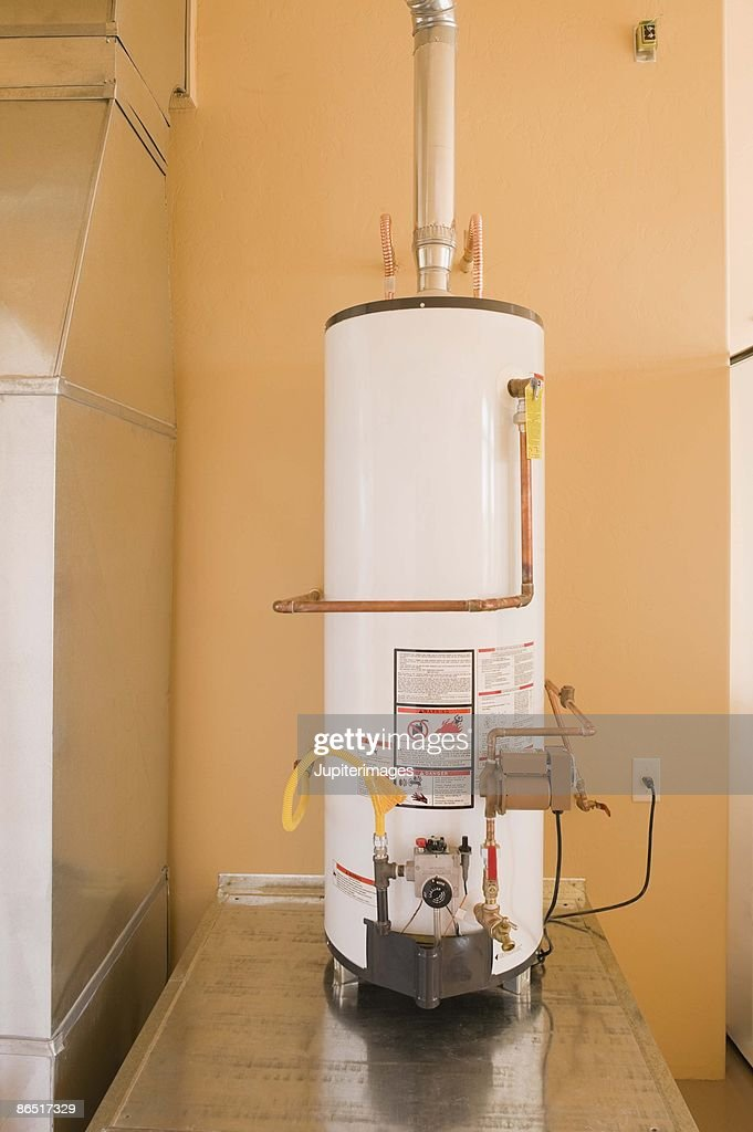 Hot Water Heater In Basement : Stock Photo