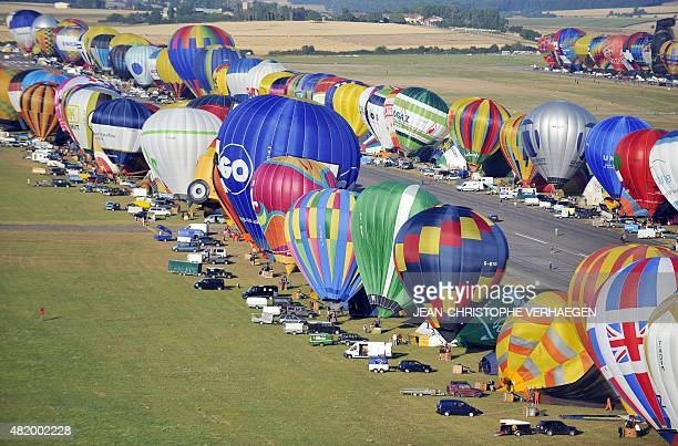 Hotair balloons are seen near ChambleyBussieres airbase eastern France on July 26 on the first day of the international airballoon meeting 'Lorraine...