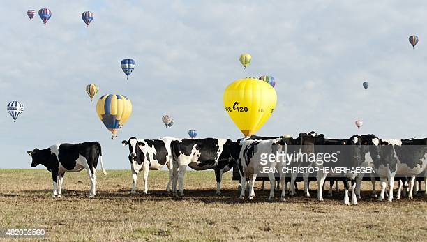 Hotair balloons fly near ChambleyBussieres airbase eastern France on July 26 on the first day of the international airballoon meeting 'Lorraine...