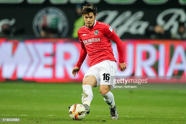 Hotaru Yamaguchi of Hannover controls the ball during the Bundesliga match between Eintracht Frankfurt and Hannover 96 at CommerzbankArena on March...