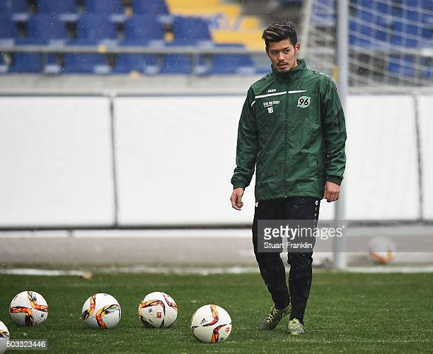 Hotaru Yamaguchi of Hannover during a trainning session prior to the announcement of his joining of Hannover 96 on January 4 2016 in Hanover Germany