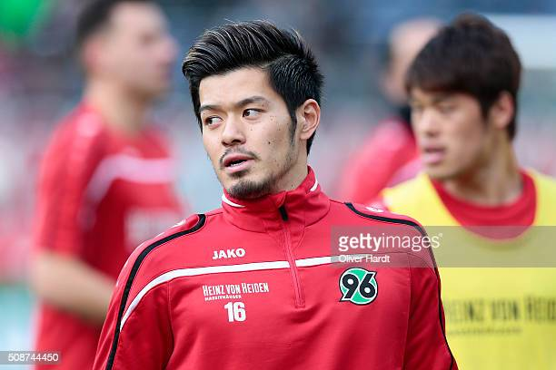 Hotaru Yamaguchi of Hannover looks on prior to the first Bundesliga match between Hannover 96 and 1 FSV Mainz 05 at HDIArena on February 6 2016 in...