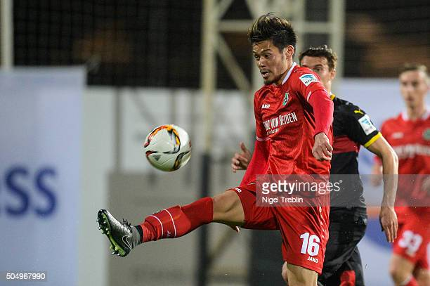 Hotaru Yamaguchi of Hanover controls the ball during a test game against VfB Stuttgart during Hannover 96 training camp on January 13 2016 in Belek...