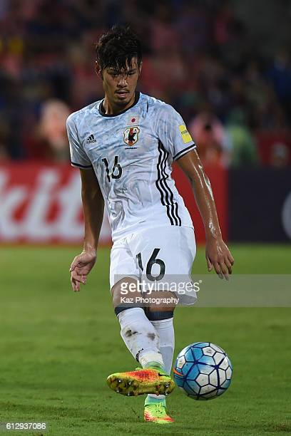 Hotaru Yamaguchi of Japan passes the ball during the 2018 FIFA World Cup Qualifier between Thailand and Japan at on September 6 2016 in Bangkok...