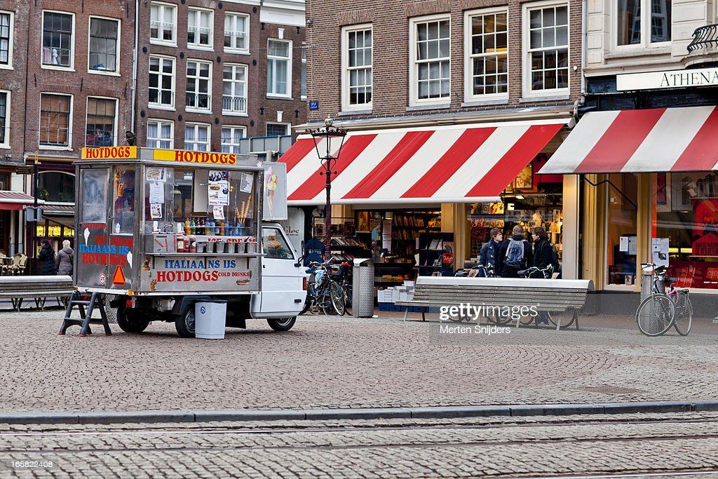 Hotdog cart on Spui square