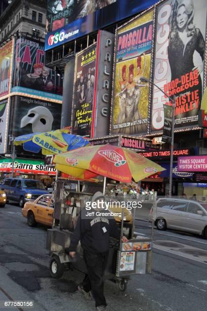 A hotdog cart Theatre District Times Square