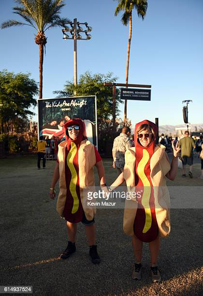 Hotdog costumes are seen during Desert Trip at The Empire Polo Club on October 15 2016 in Indio California