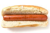 Plain hotdog on white background from above
