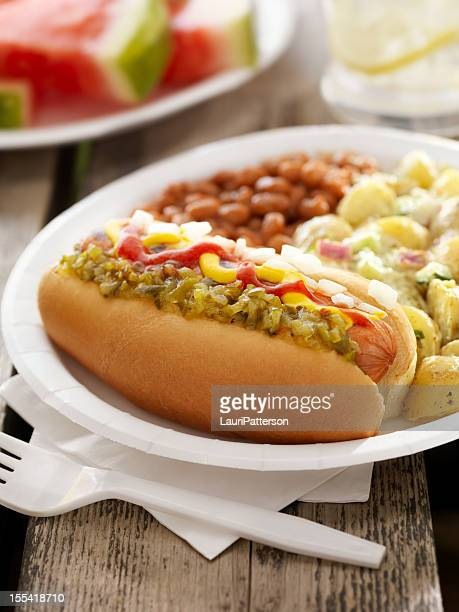 BBQ Hotdog with Lemonade