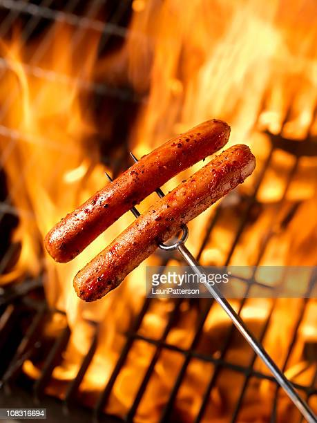 Hotdogs Cooking on the Campfire