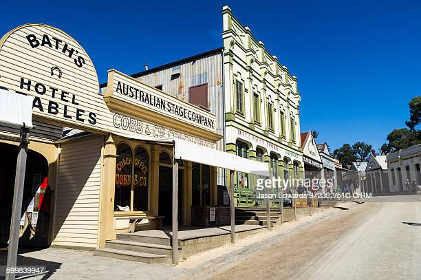 A hotel and stables in the Main Street of a gold mining town museum Sovereign Hill Ballarat Victoria Australia