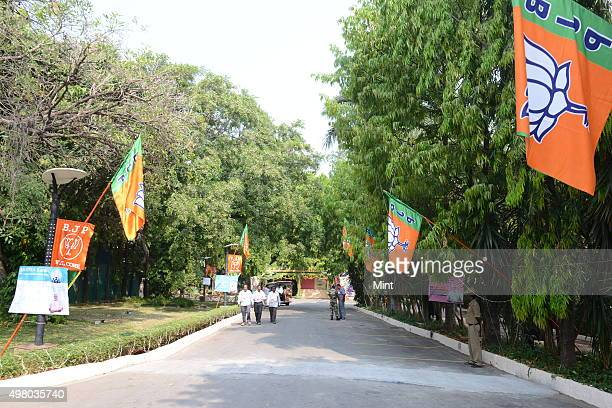 Hotel Ashok is decorated with saffron and green color flowers and BJP's Flag during the BJP twoday National Executive meeting at Hotel Ashok on April...