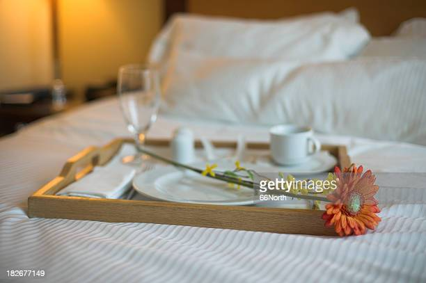 Hotel Breakfast Vacation Romantic Flower Coffee Pillow Bed Love