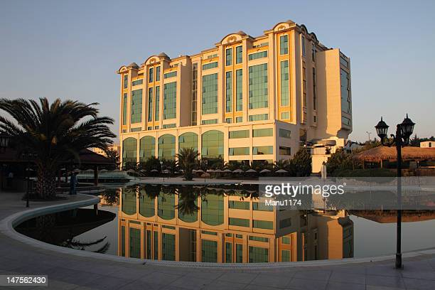 hotel building in the eving sun with reflexion