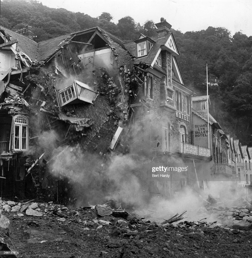 A hotel collapses after serious flooding brought chaos to Lynmouth, Devon. Original Publication: Picture Post - 6012 - Lynmouth - pub. 1952