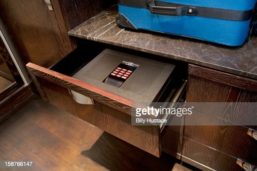Hotel in-room safe with digital keypad lock : Stock Photo
