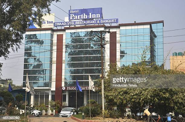 Hotel Parth Inn where police raided during a rave party on February 12 2015 in Ghaziabad India 72 people including six women arrested and two dozen...