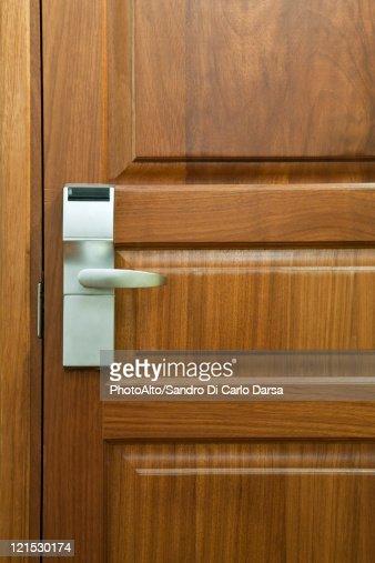 Hotel room door with electronic door lock, full frame