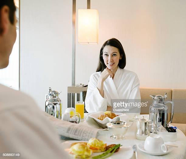 Hotel room service breakfast