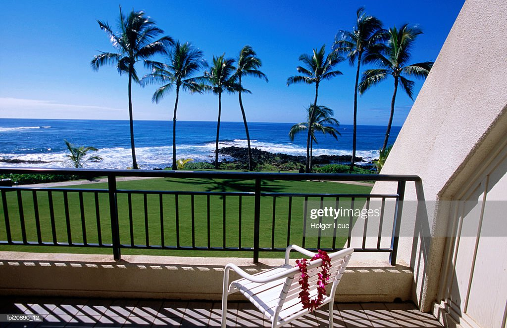 Hotel room view of beach, Poipu, United States of America : Stock Photo