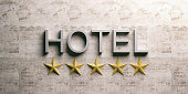 Five stars hotel sign on a marble background. 3d illustration