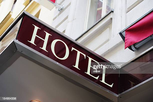 Hotel sign over building entrance
