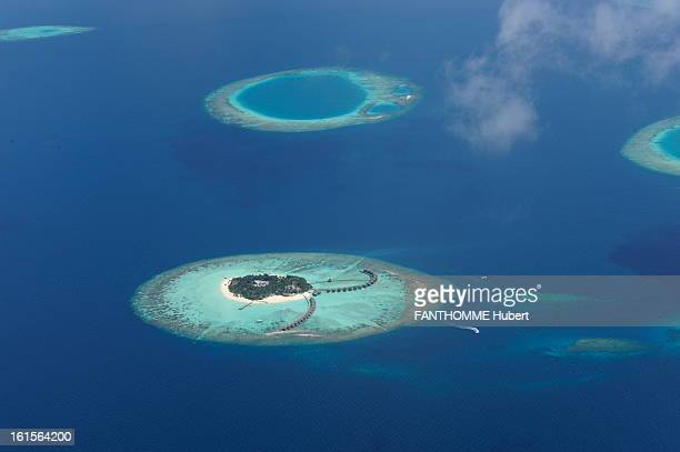 With The Pioneers Of Eco Luxury Illustration of the Maldives aerial view of an island