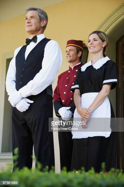 Hotel staff at attention