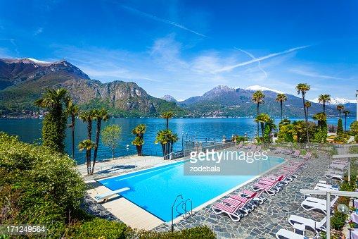 Hotel Swimming Pool on Como Lake, Italy