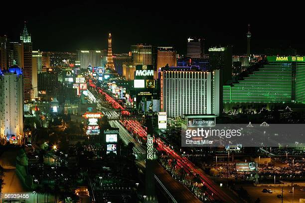 Hotelcasinos on the Las Vegas Strip are seen on February 25 2006 in Las Vegas Nevada