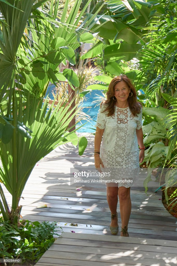 Hotelier Jocelyne Sibuet is photographed for Madame Figaro on January 13, 2017 at La Villa Marie in Colombier, Saint Barthelemy, France. PUBLISHED IMAGE.