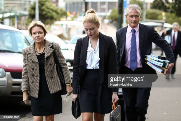 Hotelier Lani Hagaman looks on after a defamation case against Labour Party leader Andrew Little at the High Court on April 10 2017 in Wellington New...