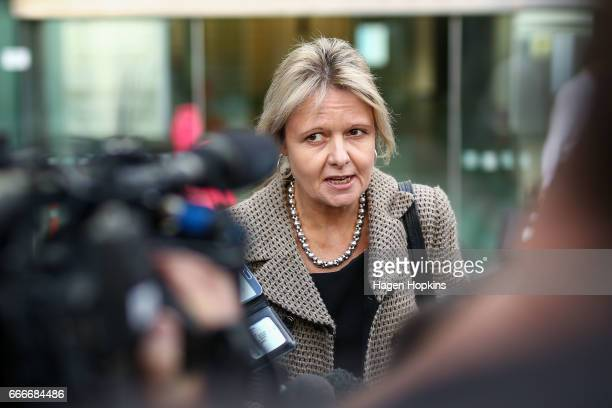 Hotelier Lani Hagaman speaks to media outside after a defamation case against Labour Party leader Andrew Little at the High Court on April 10 2017 in...