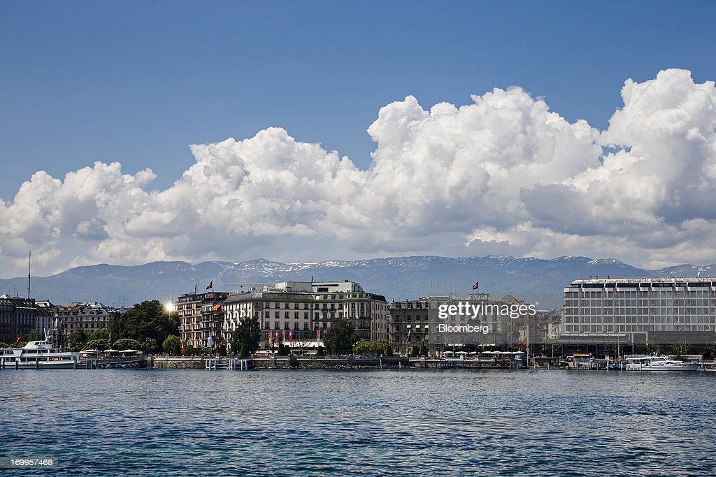 Hotels and offices stand along the bank of Lake Geneva in Geneva, Switzerland, on Wednesday, June 5, 2013. Members of the Swiss parliament's upper house's economic committee have been debating a law which, if passed, could authorize Swiss banks to cooperate with U.S. authorities. Photographer: Valentin Flauraud/Bloomberg via Getty Images