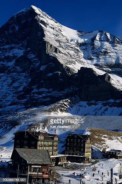 Hotels in mountains covered with snow, Klein Scheidegg Ski Area, Eiger Peak, Switzerland