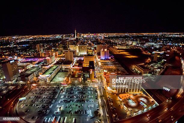 Hotels stand on The Strip in this aerial photograph taken at night above Las Vegas Nevada US on Wednesday Aug 5 2015 More than 21 million people have...