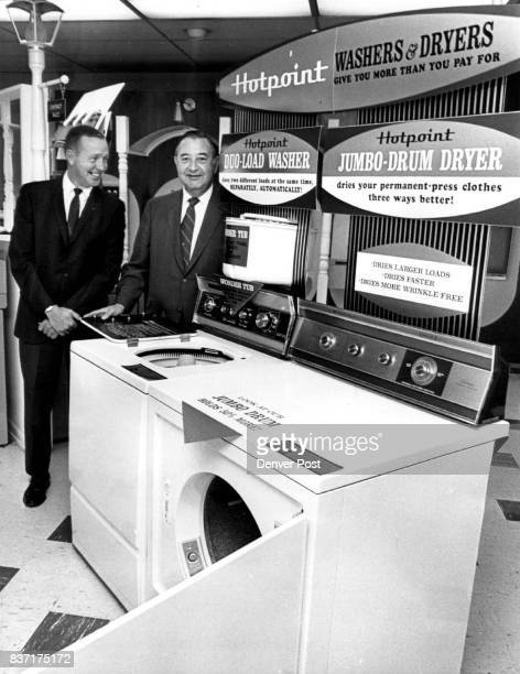 Hotpoint Unveils 1970 Line Angus Campbell right district sales manager and Ray Curtis sales counselor at Hotpoint's Denver sales office 4200 Holly St...