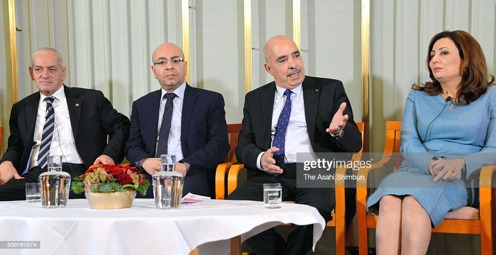 Houcine Abbassi, Secretary General of the Tunisian General Labour Union, Mohamed Fadhel Mahmoud, President of the National Bar Association of Tunisian, <a gi-track='captionPersonalityLinkClicked' href=/galleries/search?phrase=Abdessattar+Ben+Moussa&family=editorial&specificpeople=622781 ng-click='$event.stopPropagation()'>Abdessattar Ben Moussa</a>, President of the Tunisian Human Rights, and Wided Bouchamaoui, President of the Tunisian Human Rights League attend the Nobel Peace Prize Press conference at the Norwegian Nobel Institute on December 9, 2015 in Oslo, Norway. The National Dialogue Quartet is comprised of four key organizations in Tunisian civil society: the Tunisian General Labour Union (UGTT), the Tunisian Confederation of Industry, Trade and Handicrafts (UTICA), the Tunisian Human Rights League (LTDH), and the Tunisian Order of Lawyers.