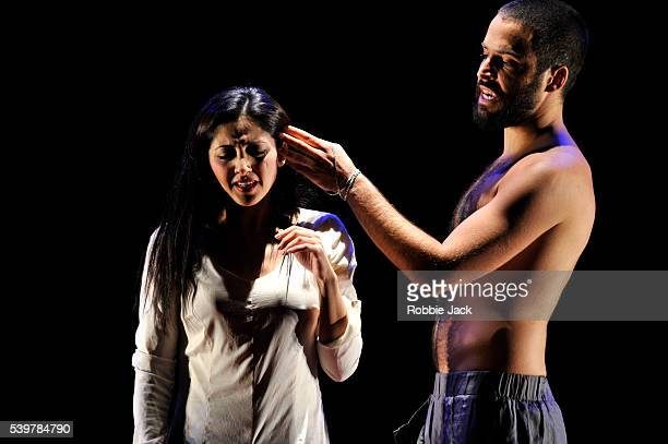 Houda Echouafni as Shaharazad and Assaad Bouab as Sharayar in Tim Supple's 'One Thousand And One Nights' directed by Tim Supple at the Royal Lyceum...