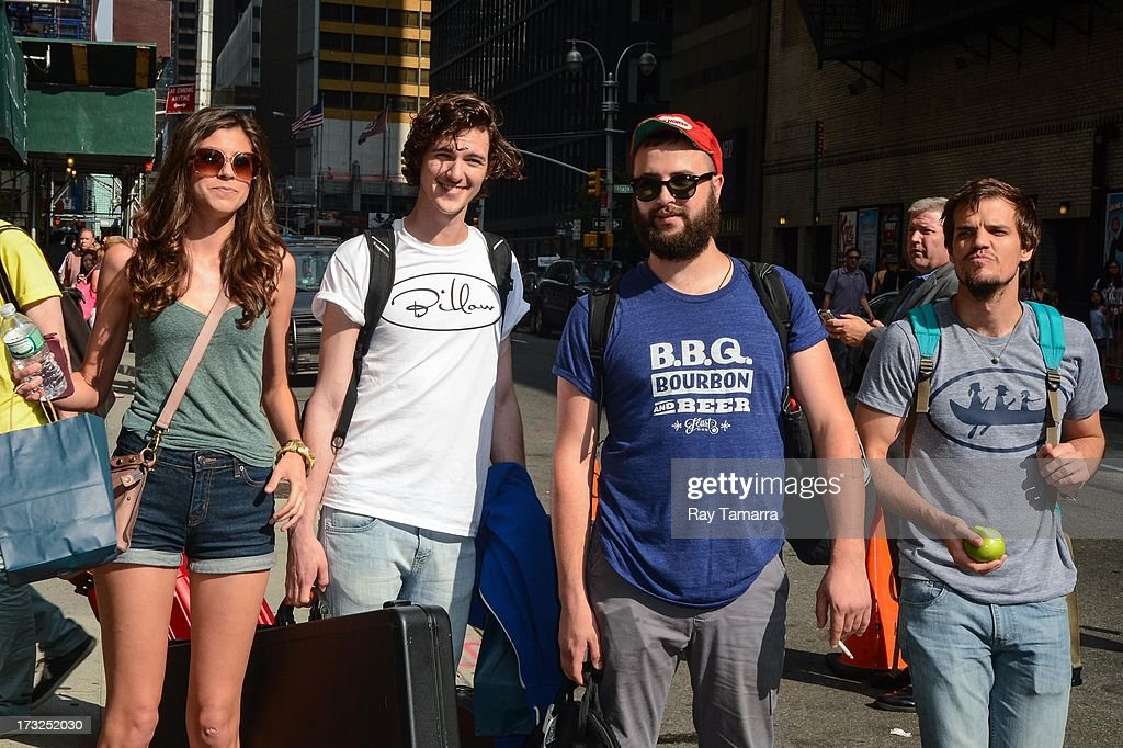 Houndmouth members Katie Toupin, Matt Myers, Shane Cody, and Zak Appleby leave the 'Late Show With David Letterman' taping at the Ed Sullivan Theater on July 10, 2013 in New York City.