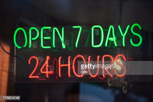 24 hour illuminated neon sign